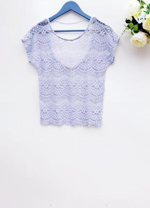 Трендовая футболка ажурная блуза нежно голубая круживная блуза