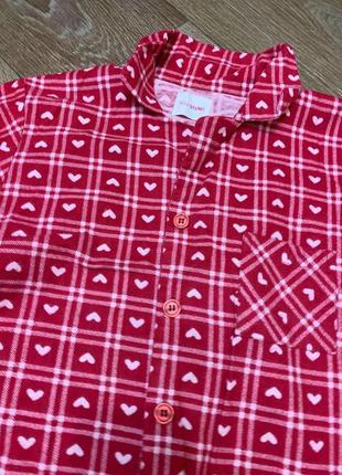 Пижама байковая, красная в сердечки