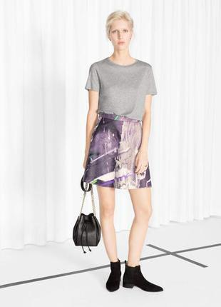 Стильная кожаная юбка с цветным принтом & other stories # натуральная кожа р. l, xl