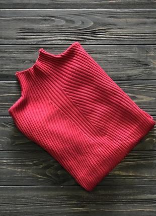 Женский гольф лонгслив водолазка бордового красного цвета ёлочка рубчик