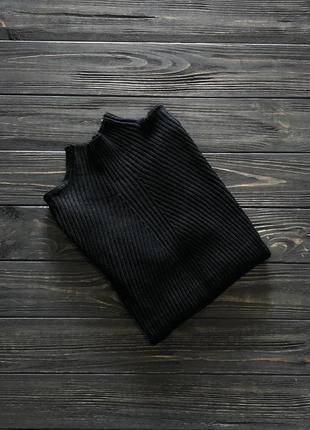 Гольф женский чёрный рубчик ёлочка
