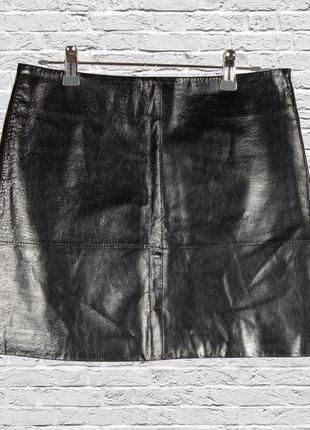 Кожаная юбка черная, короткая юбка трапеция черная