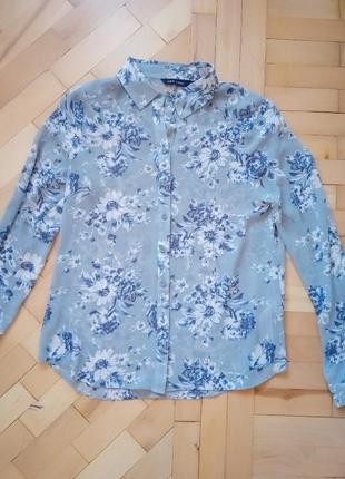 Легкая шифоновая блузка голубого цвета