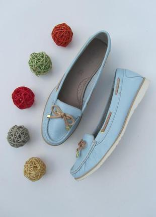 Кожаные мокасины нежно голубого цвета на узкую ногу