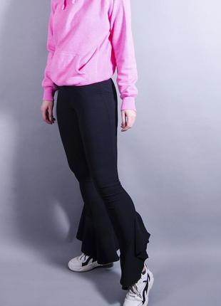 Расклешенные штаны лосины черные, черные леггинсы, модные легинсы черные