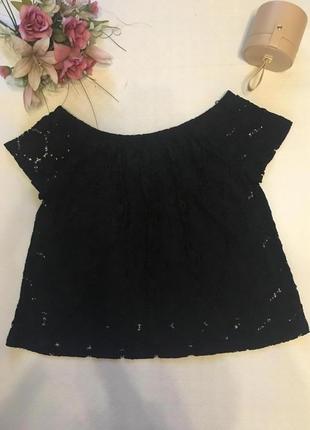 Блуза с открытыми плечами кружевная 18-хххл