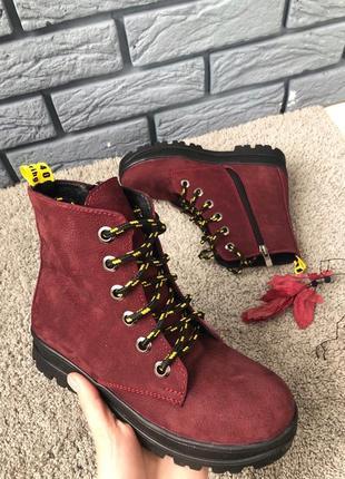Детские зимние ботинки кожаные бордовые для девочки