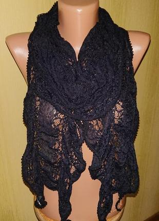 Красивый черный ажурный шарф , платок