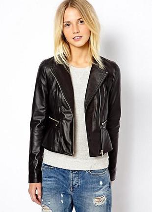 Байкерская куртка из натуральной кожи с баской new look