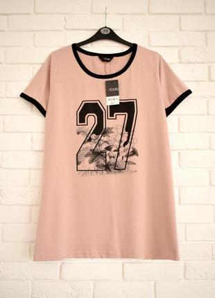 Стильная футболка с принтом и разрезами по бокам yours uk20 новая