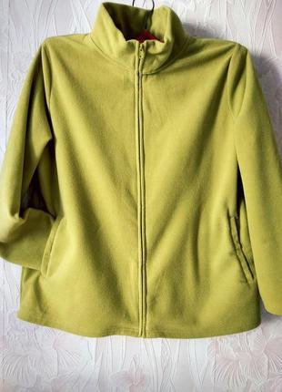 Флисовая курточка,толстовка цвета лайма большого размера