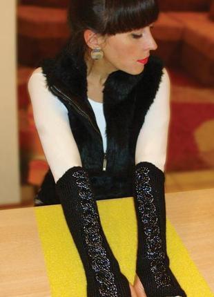 Митенки перчатки без пальцев вязаные женские - всегда в тренде