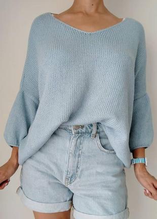 Джемпер*свитер*пуловер*оверсайз*голубой*стильный*мягкий*от h&m*