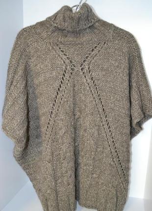 Пончо кофта брендовая oversize теплая шерсть крупная вязка