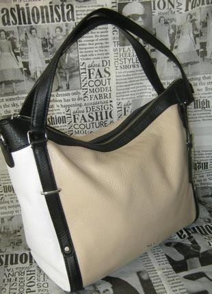 Сказочная кожаная большая сумка тоут оригинал на молнии брендовая натуральная кожа