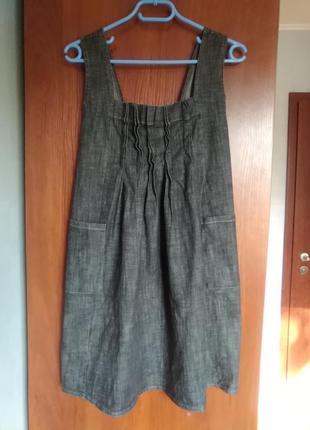 Сарафан джинсовый серый с карманами