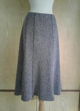 Теплая серо- черная юбка из плотной вискозной ткани, 6xl.