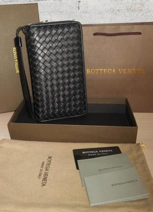 Клатч-сумка мужская, большой кошелек bottega veneta, кожа, италия