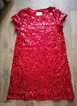 Красное платье в паетки holly&whyte 12-14 лет