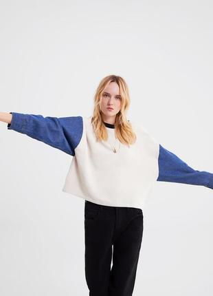 Новая толстовка свитер zara с джинсовыми рукавами