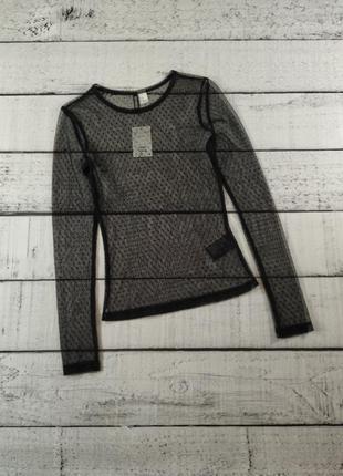 Блузка сетка черная с длинным рукавом divided