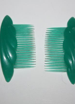 Заколки-гребешки\ для волос\ зеленые\ винтаж\ 90-ые года\ ссср\ тренд 2019
