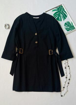 Удлиненная блуза с пуговицами и пряжками,  рубашка