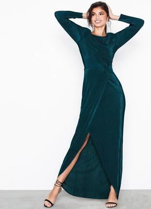 Макси-платье бутылочного цвета мелкое плиссе