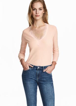 Блузка трикотожная пудровая с длинным рукавом h&m