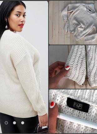 F&f.белый свитер.