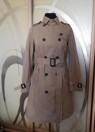 Тренч, пальто, плащ zara basic утеплений, теплий, 100% котон