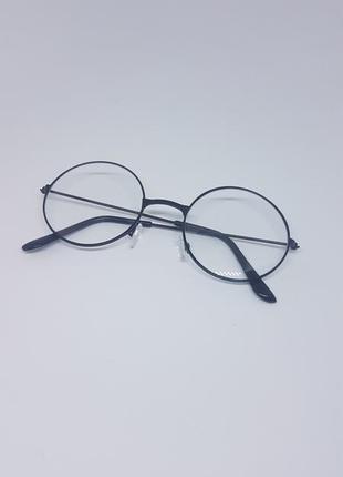 Имиджевые очки круглые / нулевки унисекс в чёрной оправе