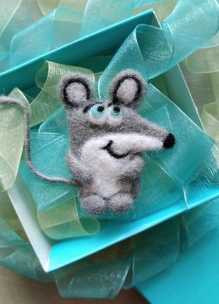 Войлочная валяная брошь крыса мышка мышонок символ 2020 года новогодний подарок значок
