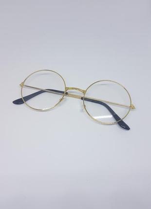 Имиджевые очки круглые / нулевки очки унисекс в золотистой оправе