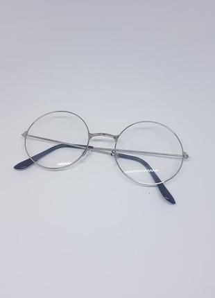 Имиджевые очки круглые / нулевки очки унисекс в серебристой оправе