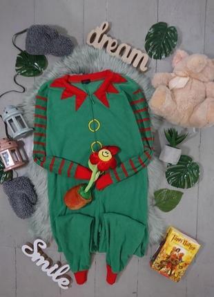 Теплая флисовая пижама кигуруми слип рождественский эльф №17