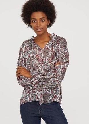Блуза в принт h&m  пейсли узор