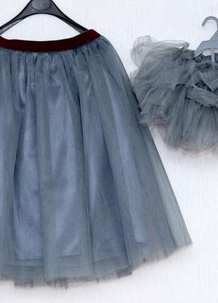 Комплект юбок мама+дочка family look для фотосессии - юбка фатин - в идеале