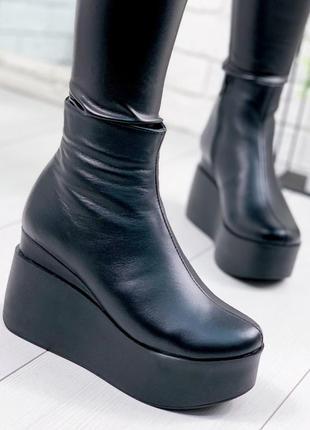 ❤ женские черные зимние кожаные ботинки сапоги ботильоны на шерсти на танкетке  ❤