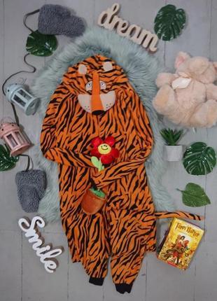 Теплая флисовая пижама кигуруми слип тигр №19
