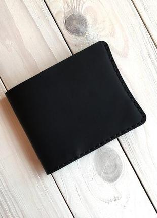 Кожаный кошелек для денег goose™ g0040 черный, ручной работы