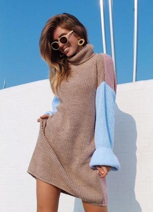 Тёплое вязаное платье под горло😍