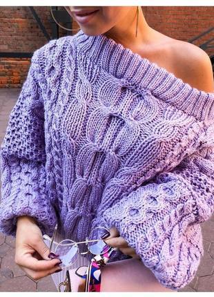 Женский вязаный объёмный свитер рубан ruban джемпер открытые плечи ручная работа