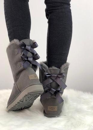 Женские зимние угги/ сапоги ugg bailey bow 2 boot 1016225 (grey) 😍 (с мехом)