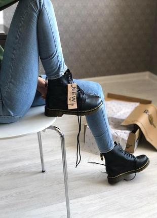 Шикарные кожаные ботинки/ сапоги dr. martens 1460 black fur унисекс 😍 (c мехом)