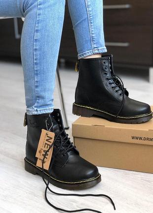 Шикарные кожаные ботинки/ сапоги dr. martens 1460 black унисекс 😍 (без меха)