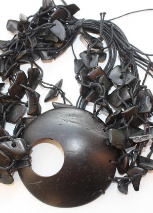 Колье из настоящего кокоса крупное, массивное, украшение на шею новое индия