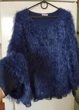 Эксклюзивный свитер джемпер с блузой кофта оверсайз синий травка италия объемный