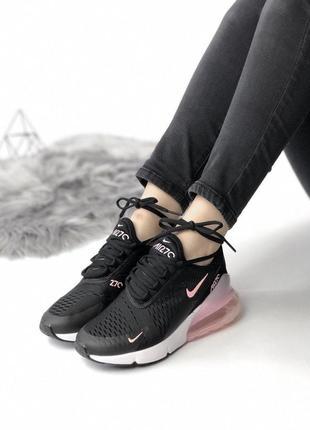 Шикарные женские кожаные кроссовки nike air max 270 black/ pink 😍 (весна/ лето/ осень)