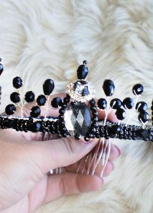 Красива чорна корона діадема/черная корона диадема